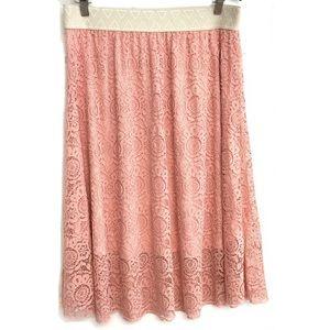 LuLaRoe Lola Peach Lace Layered Midi Skirt XL